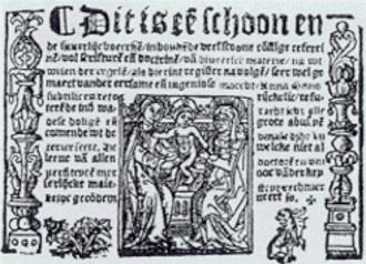 Medieval Dutch literature - Title page of Anna Bijns' first volume of Refereinen (1528).