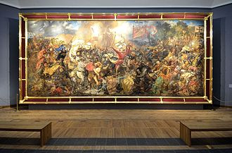 Canvas - One of Poland's largest canvas paintings, the Battle of Grunwald by Jan Matejko (426 cm × 987 cm (168 in × 389 in)), displayed in the National Museum in Warsaw.