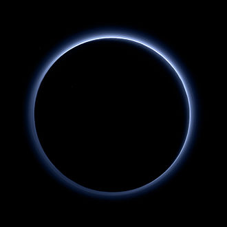 Atmosphere of Pluto - Departure shot of Pluto by New Horizons, showing Pluto's atmosphere backlit by the Sun. The blue color is close to what a human eye would have seen, and is caused by layers of haze in the atmosphere.