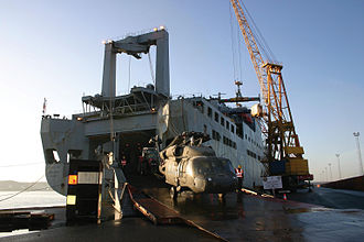 USNS Bob Hope (T-AKR-300) - A helicopter being loaded onto Bob Hope in Antwerp, Belgium