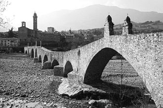 Columbanus - Stone bridge over the Tebbia river leading to Bobbio Abbey in northern Italy