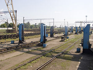 Bogie exchange - Bogie change station at Chop, Ukraine station, Ukraine, which connects to Hungary and Slovakia