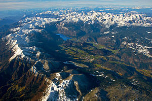Bohinj - Aerial view of Bohinj, a basin in the Julian Alps