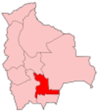 Chuquisaca Department - Map of Bolivia showing Chuquisaca department