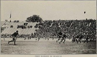 1922 Michigan vs. Vanderbilt football game - Lynn Bomar with the opening kickoff.