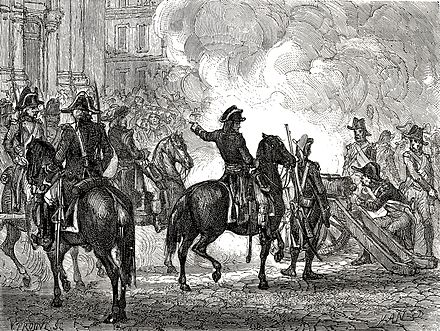 Bonaparte fait tirer a mitraille sur les sectionnaires (Bonaparte orders to shoot at the section members), Histoire de la Revolution, Adolphe Thiers, ed. 1866, design by Yan' Dargent Bonaparte 13 vendemiaire Saint Roch.jpg