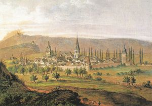 Brackenheim - Brackenheim from north-east, author unknown, aquarell with pencil, about 1820