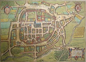Map of Braga at the end of the 16th century, when the city was still enclosed by its mediaeval wall. The large building in the middle is the Cathedral of Braga. The Palace of the Archbishops, with many courtyards, can be seen over the cathedral. The structure with many towers at the right corner of the walls is the ancient Castle of Braga, from which a tower has survived