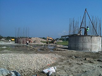 Bhadrapur, Mechi - Image: Bridge being dewatered