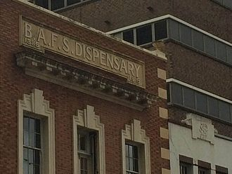 BAFS Building - Brisbane Associated Friendly Societies (BAFS) Building, lettering and mortar-and-pestle detail, 2015