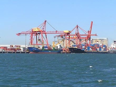The Port of Brisbane, Australia's third-busiest seaport Brisbane Docks 2004 - panoramio.jpg