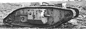 QF 6-pounder 6 cwt Hotchkiss - Mark V tank showing short 6 pounder gun barrel