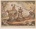 Britse politieke spotprent, 1807 Political Mathematician's, Shaking the Broad bottom'd Hemispheres (titel op object), RP-P-1990-139.jpg
