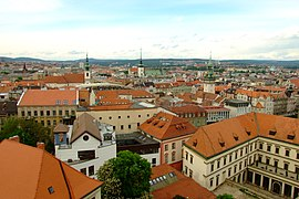 Brno city center from tower of Petrov.JPG