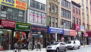 """NoMad, Manhattan - Parts of Broadway in NoMad, such as this block between 26th and 27th Streets remain full of small """"wholesale"""" import shops."""