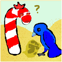 A drawing created using the BPT interface, depicting a large candy cane wearing a crown, and a large blue bird, consulting a map as they stand amid sand dunes.