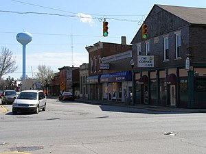 Main Street in Brookston, Indiana at IN 43