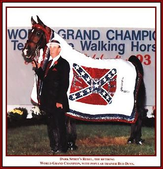 Bud Dunn - Bud Dunn with Dark Spirit's Rebel after winning his first Tennessee Walking Horse World Grand Championship in 1992 at age 74.