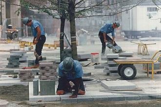 Westlake Park (Seattle) - Building Westlake Park, circa 1987.