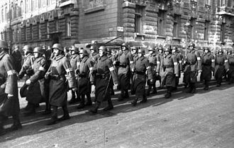 Government of National Unity (Hungary) - Arrow Cross members marching in Budapest, October 1944.