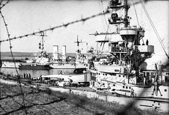 SMS Schlesien - Schlesien (foreground) and Schleswig-Holstein in Westerplatte following the occupation of the port