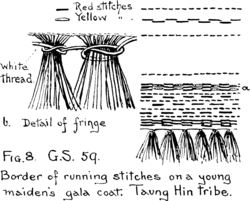 Fig. 8. G.S. 59. Border of running stitches on a young maiden's gala coat. Taung Hin tribe.