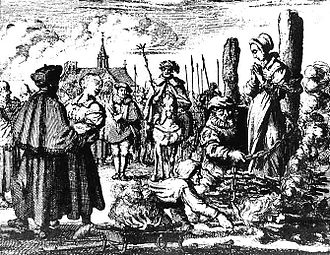 Moral panic - Preparing to burn a witch in 1544. Witch-hunts are an example of mass behavior fueled by moral panic.