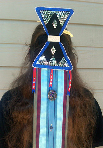Dush-toh - Caddo girl modeling a doosh-toh made by Tracy Burrows (Caddo-Delaware)