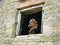 Bust of a male in a window at Heaton, Staffordshire.jpg