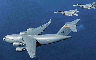 Joint Base Pearl Harbor–Hickam - Image: C 17 and F 15s of the 15th Wing