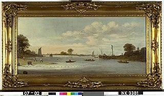 Riviergezicht met boten en vissers
