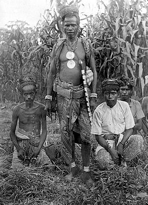 Atoni - Image: COLLECTIE TROPENMUSEUM De meo voorvechter en priester van Oekabiti in oorlogskostuum met andere atoni's T Mnr 10005969