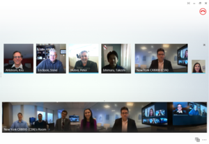 Microsoft RoundTable - 360-degree panoramic view from the Polycom CX5100 shown from a Skype for Business client in a video call