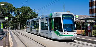 Trams in Australia - A modern low-floor C1 class tram, as used on the Melbourne network.