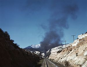 California Southern Railroad - A Santa Fe train working through Cajon Pass in March 1943.
