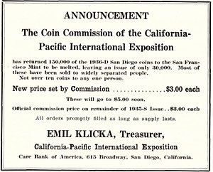 Print advertisement selling the half dollars at $3 each