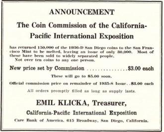 California Pacific International Exposition half dollar - Advertisement for the half dollars, 1937