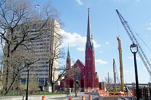 Calvary Presbyterian Church (Milwaukee) - Calvary Presbyterian Church during construction on the Marquette Interchange