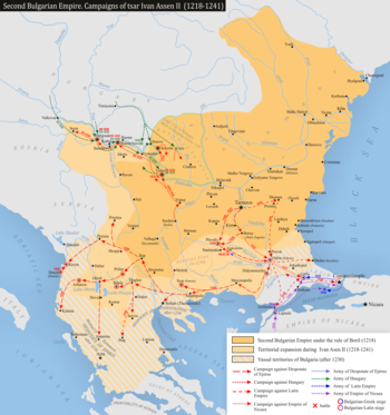 Map of the Bulgarian Empire under Ivan Asen II