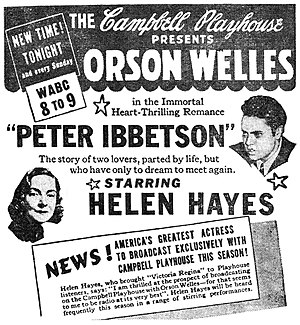 "Peter Ibbetson (play) - Newspaper advertisement for The Campbell Playhouse presentation of ""Peter Ibbetson"" (September 10, 1939)"