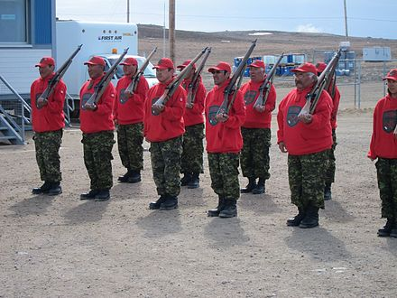Canadian Rangers with Lee–Enfield Rifle No. 4 rifles, 2011. Canadian Rangers.jpg