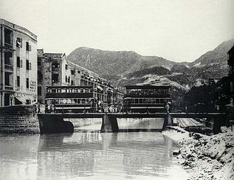 Canal Road, Hong Kong - Trams crossing Bowrington Canal in the 1920s