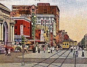 Saenger Theatre (New Orleans) - Postcard view of the Saenger on Canal Street, circa 1940.
