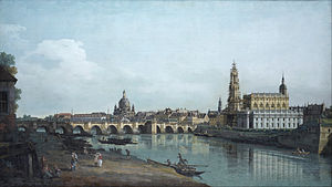 Dresden From the Right Bank of the Elbe Below the Augustus Bridge - Image: Canaletto Dresden seen from the Right Bank of the Elbe, beneath the Augusts Bridge Google Art Project
