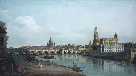 Bernardo Bellotto's Dresden included the Hofkirche during construction. Canaletto - Dresden seen from the Right Bank of the Elbe, beneath the Augusts Bridge - Google Art Project.jpg