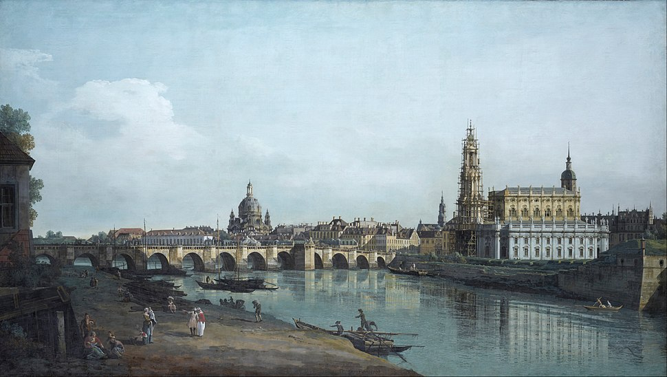 Canaletto - Dresden seen from the Right Bank of the Elbe, beneath the Augusts Bridge - Google Art Project