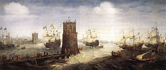 Robert Fitzwalter - A 1628 painting by Cornelis Claesz van Wieringen depicting the 1218 siege of Damietta, in which Fitzwalter took part as a crusader