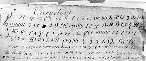 Golden plates - A reputed transcript of reformed Egyptian characters, which Smith said were copied from the golden plates in 1828. The characters are not linked to any known language.