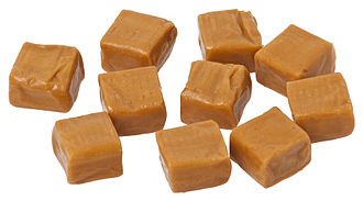 Caramel - Milk caramel manufactured as square candies, either for eating or for melting down.
