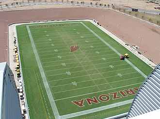 State Farm Stadium - The playing field outside and lined for the Arizona Cardinals.